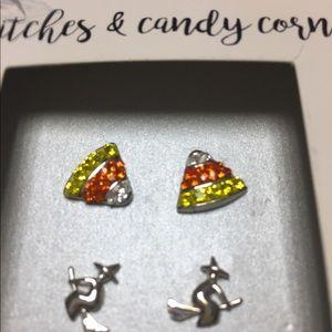 Jewelry - NIB Halloween Earrings Witch on Broom Candy Corn